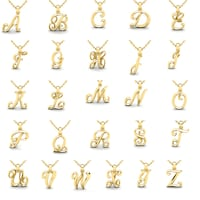 Versil sterling silver large fancy script initial y charm with 18 swirly initial necklace in heavy 14 karat yellow gold with free 18 inch cable chain aloadofball Choice Image