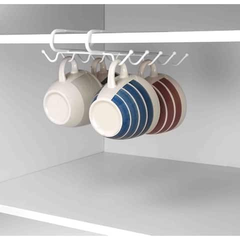 Home Basics Under the Shelf Wire Mug Holder with 10 Hooks in White