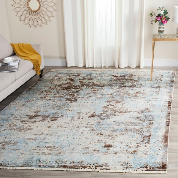 Safavieh Vintage Persian Brown/ Light Blue Distressed Rug - 8' x 10'