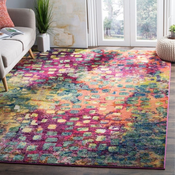 Safavieh Monaco Abstract Watercolor Pink/ Multi Distressed Rug - 8' x 10'