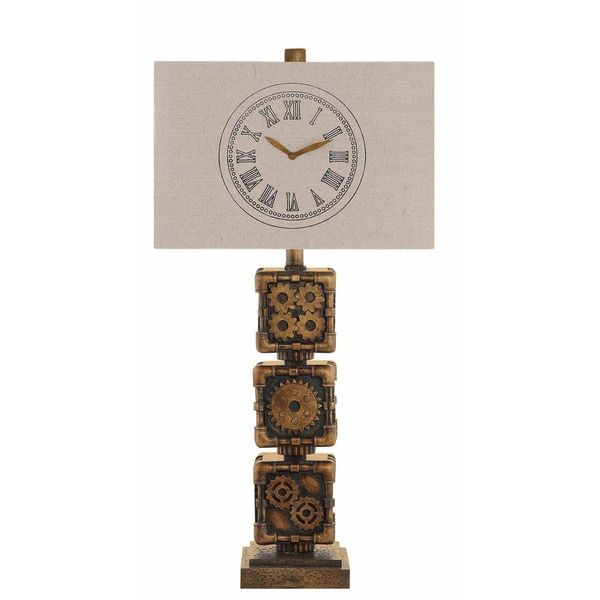 Clockworking Antique Brass 29-inch Table Lamp