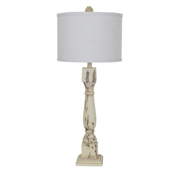 Antique Collum Aged White 34-inch Table Lamp