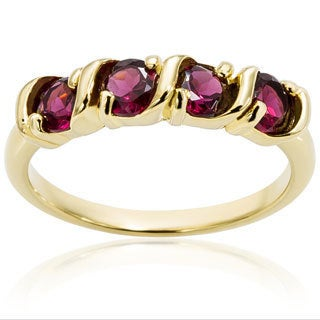 Dolce Giavonna Gold Over Sterling Silver Round Gemstone Four Stone Ring