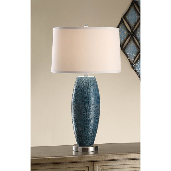 Melrose Turquoise Blue Pearlized 28.75-inch Table Lamp