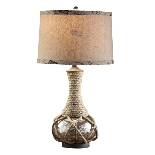 Freeport Mercury Glass and Rope 30-inch Table Lamp