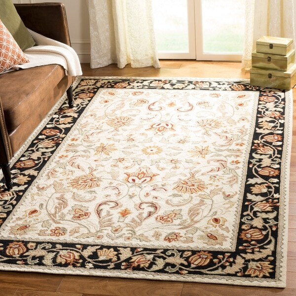 Safavieh Hand-hooked Easy to Care Ivory/ Navy Rug - 9' x 12'