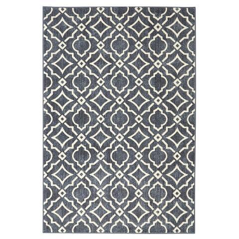"Mohawk Home Studio Carved Tiles Denim (5'3 x 7'10) - 5'3"" x 7'10"""