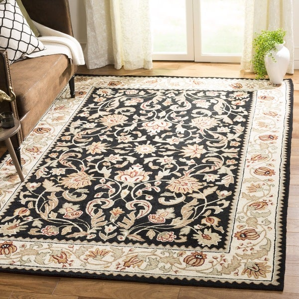Safavieh Hand-hooked Easy to Care Black/ Ivory Rug - 9' x 12'