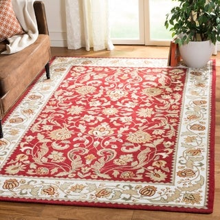 Safavieh Hand-hooked Easy to Care Red/ Ivory Rug (8' x 10')