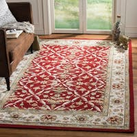 Safavieh Hand-hooked Easy to Care Red/ Ivory Rug - 9' x 12'