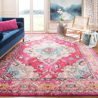 Safavieh Monaco Bohemian Medallion Pink/ Multicolored Distressed Rug (9' x 12')