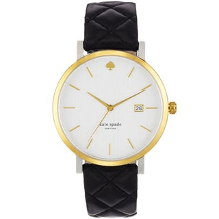 Kate Spade Women's White Dial Black Leather Strap Watch