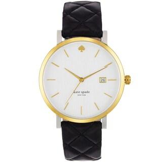 Kate Spade Women's 1YRU0125 White Dial Black Leather Strap Watch