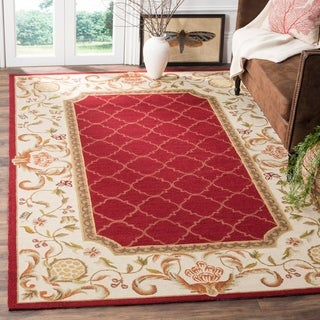 Safavieh Hand-hooked Easy to Care Burgundy/ Ivory Rug (8' x 10')