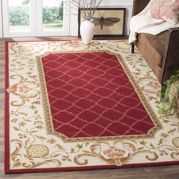 Safavieh Hand-hooked Easy to Care Burgundy/ Ivory Rug - 8' x 10'