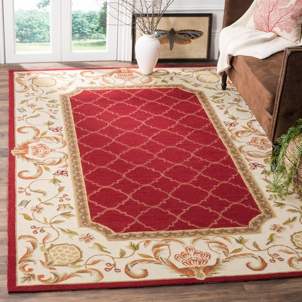 Safavieh Hand-hooked Easy to Care Burgundy/ Ivory Rug - 9' x 12'