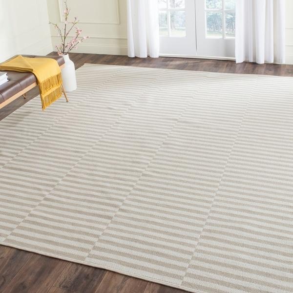 Safavieh Hand-Woven Montauk Ivory/ Light Grey Cotton Rug - 8' x 10'
