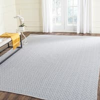 Safavieh Hand-Woven Montauk Ivory/ Light Blue Cotton Rug (8' x 10')