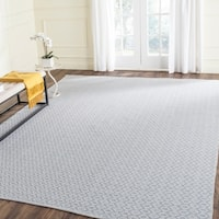 Safavieh Hand-Woven Montauk Ivory/ Light Blue Cotton Rug - 8' x 10'