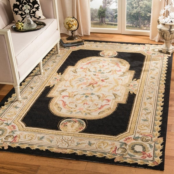 Safavieh Hand-hooked Easy to Care Ivory/ NavyRug - 9' x 12'