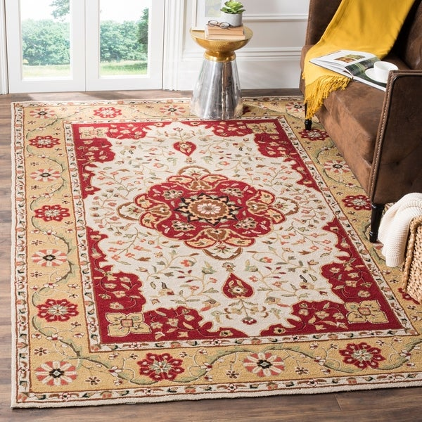 Safavieh Hand-hooked Easy to Care Cream/ Red Rug - 8' x 10'