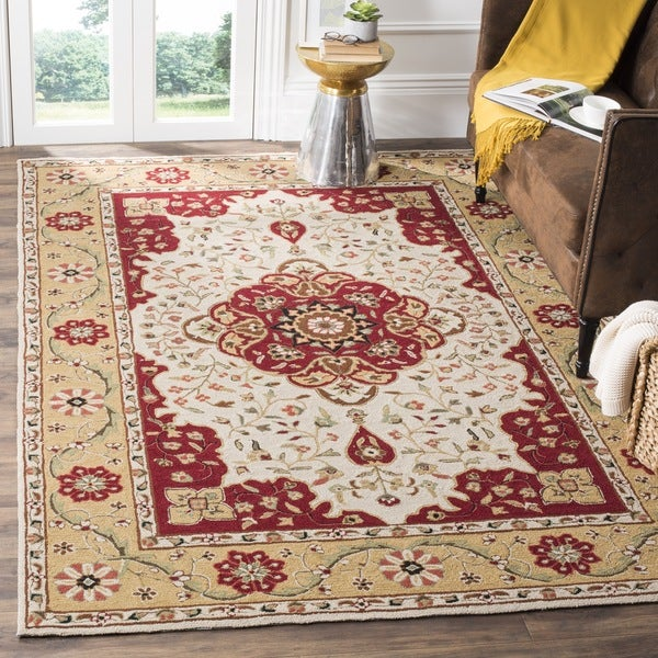 Safavieh Hand-hooked Easy to Care Cream/ Red Rug - 9' x 12'