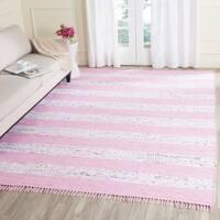 Safavieh Hand-Woven Montauk Ivory/ Light Pink Cotton Tassel Area Rug - 8' x 10'