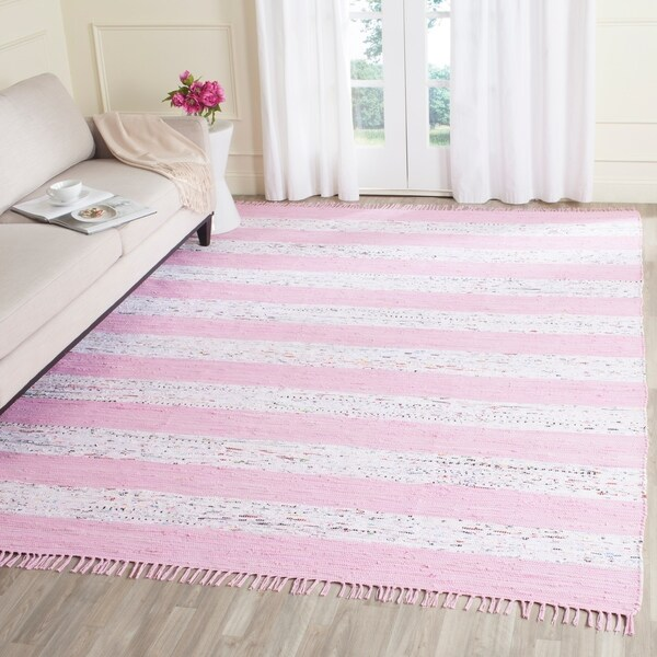 Safavieh Hand-Woven Montauk Ivory/ Light Pink Cotton Rug - 8' x 10'