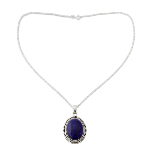 Handmade Sterling Silver 'True Clarity' Lapis Lazuli Necklace (India)
