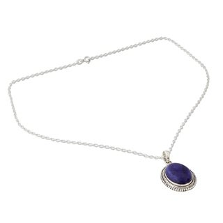 Sterling Silver 'True Clarity' Lapis Lazuli Necklace (India)