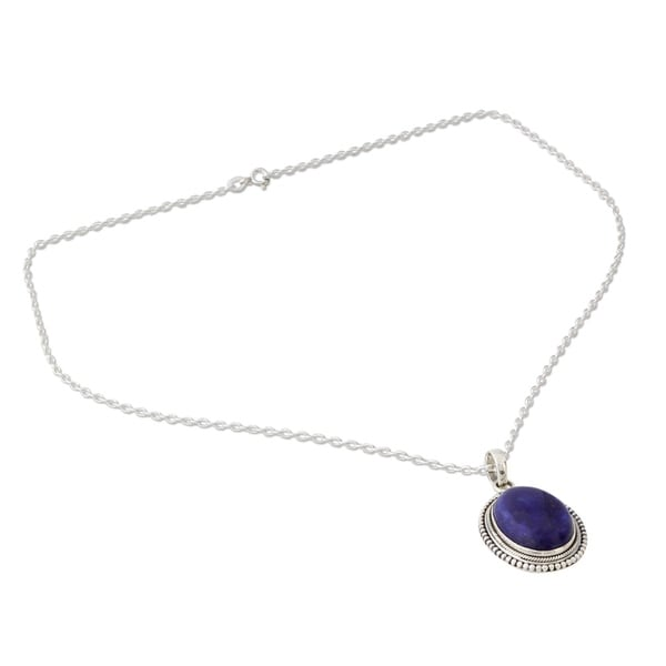 Lapis Lazuli Solid 925 Sterling Silver Pendant Necklace