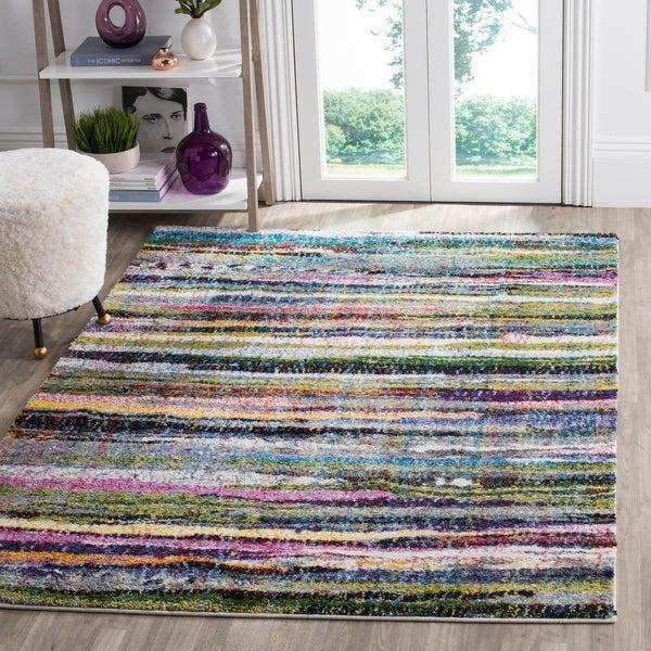 Safavieh Fiesta Shag Watercolor Multicolored Stripe Rug - multi - 9' x 12'