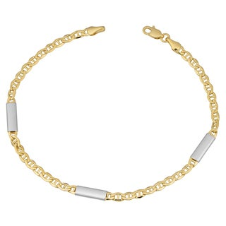 Fremada 10k Two-tone Gold Mariner Link with Bar Station Bracelet (8 inches)