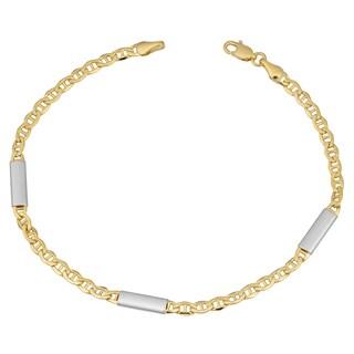 Fremada 10k Two-tone Gold Mariner Link with Bar Station Bracelet (8 inches)