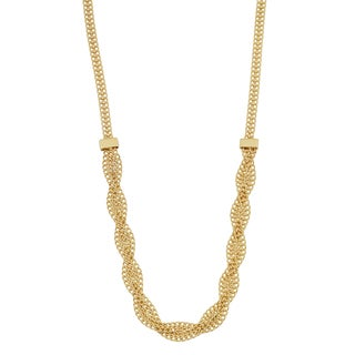 Fremada Italian 10k Yellow Gold Fancy Braided Curb Link Necklace (17 inches)