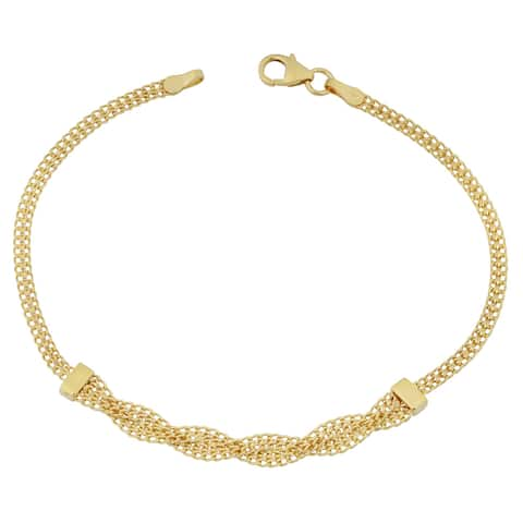 Fremada Italian 10k Yellow Gold Fancy Braided Curb Link Bracelet (7.5 inches)