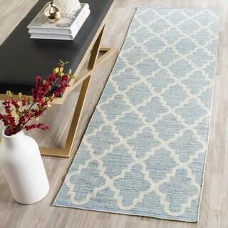 Safavieh Hand-Woven Montauk Light Blue/ Ivory Cotton Rug (10' x 14')