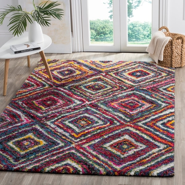 Safavieh Fiesta Shag Diamond Multicolored Rug - multi - 8' x 10'