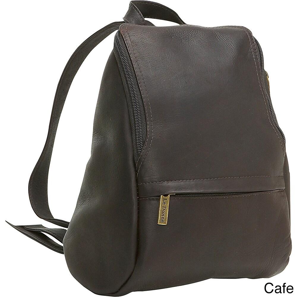 Ledonne Leather U-Zip Mini Backpack (Brown)