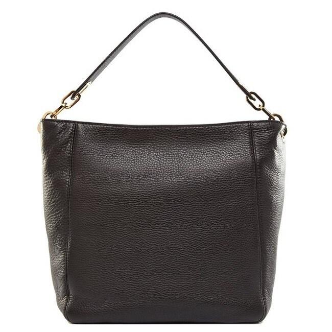 Michael Kors Fulton Medium Black Leather Shoulder Handbag...