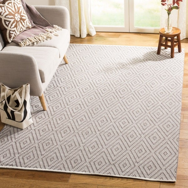Safavieh Hand-Woven Montauk Grey/ Ivory Cotton Rug - 9' x 12'