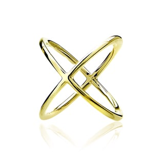 Mondevio Sterling Silver Polished Criss-Cross X Ring