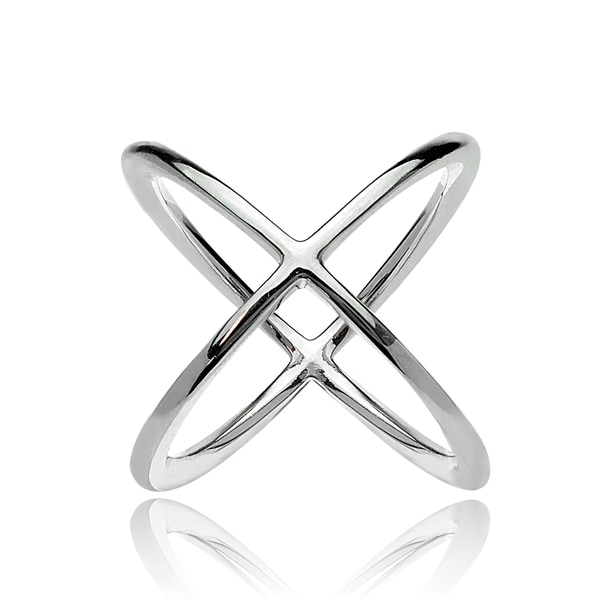 Mondevio Sterling Silver Polished Criss-Cross X Ring. Opens flyout.