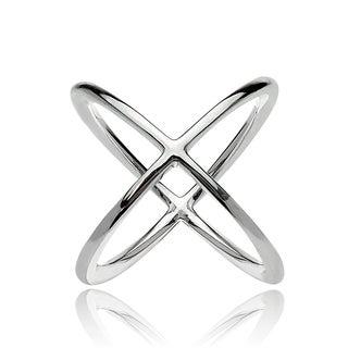 Mondevio Sterling Silver Polished Criss Cross X Ring