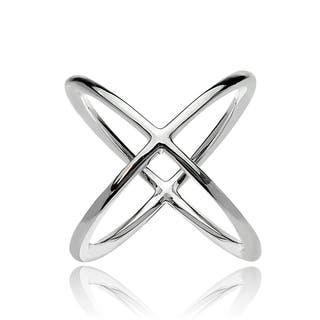Mondevio Sterling Silver Polished Criss-Cross X Ring (Option: 9)|https://ak1.ostkcdn.com/images/products/11740147/P18657753.jpg?impolicy=medium