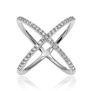 Icz Stonez Sterling Silver Cubic Zirconia Criss-Cross 'X' Ring|https://ak1.ostkcdn.com/images/products/11740219/P18657754.jpg?impolicy=medium