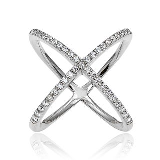 Icz Stonez Sterling Silver Cubic Zirconia Criss-Cross 'X' Ring