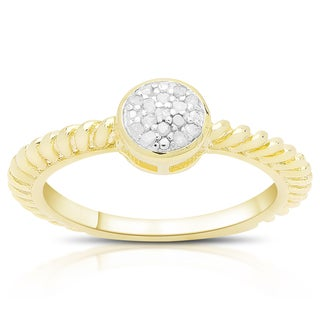 Finesque Gold Over Sterling Silver 1/10ct TDW Diamond Circle Ring (I-J, I2-I3)