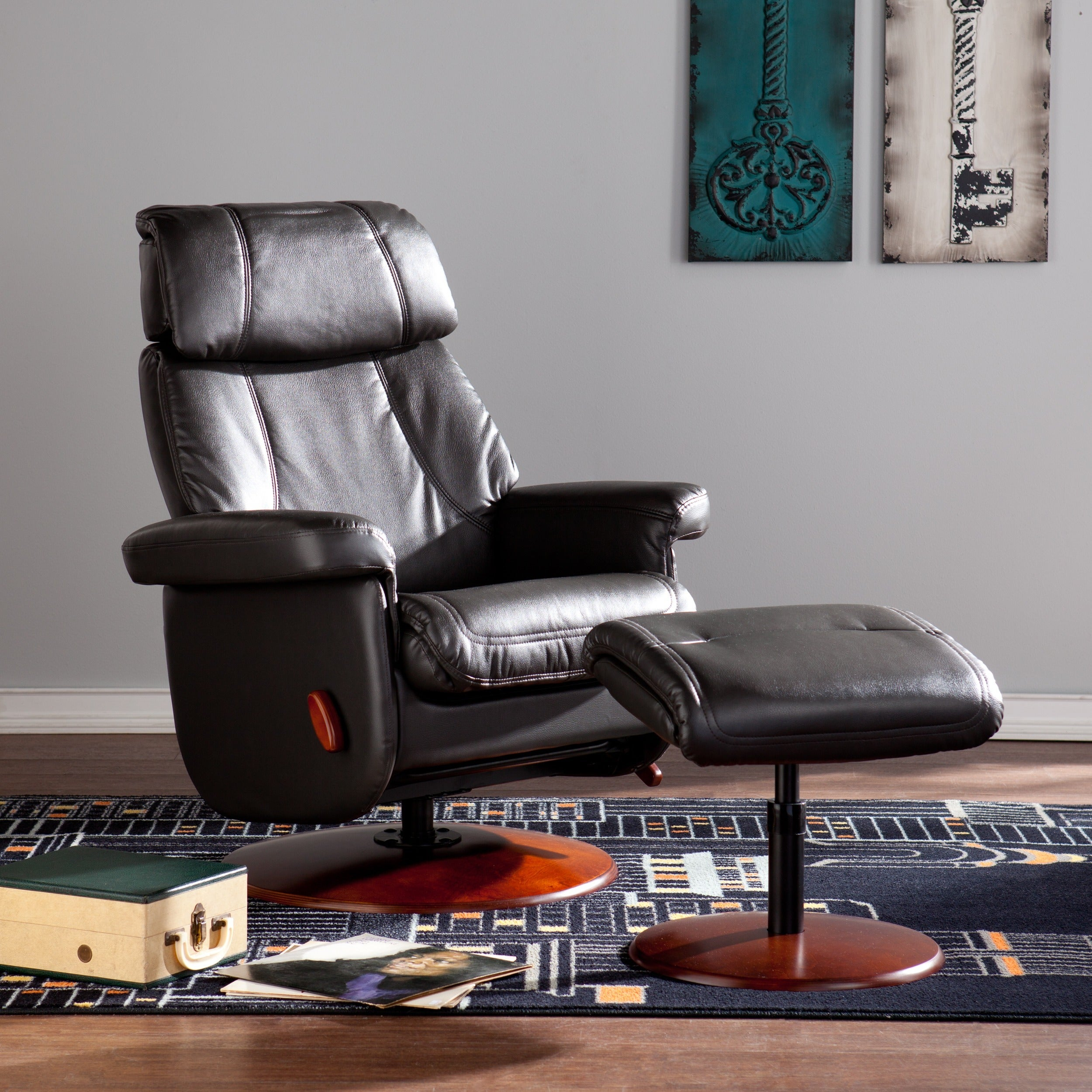Harper Blvd Stanley Black Swivel Glide Rocking Recliner (...