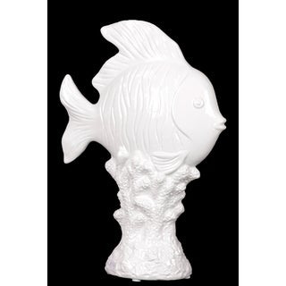 Charming & Mesmerizing Ceramic Fish On Stand In White